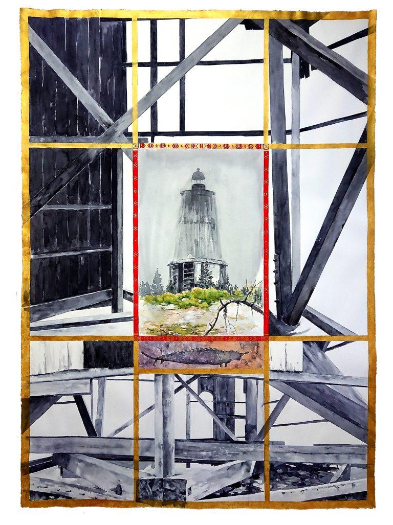 Heidi Vasara - Besov Nos (akvarelli ja tussi paperille) 200 x 140 cm 2018